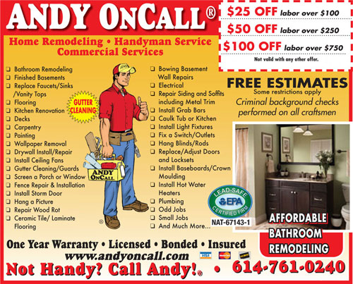 Andy On Call Handyman Services Coupon